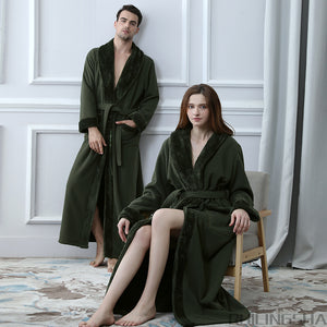 Double Layer Thickening Extra Long Winter Bathrobe Women Men Thermal Fleece