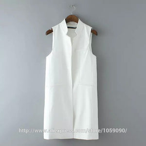 ZR Fashion White Black Stand collar double pocket  Sleeveless Blazer Waistcoat - almaj A touch of Class - 2