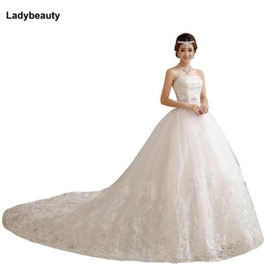 2018 Romantic Wedding Dresses Bride White Crystal Slim Satin