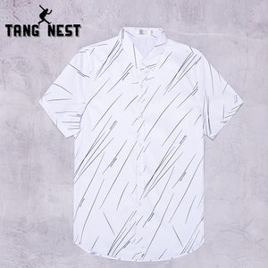 TANGNEST 2018 Summer Short-sleeve Business Men Shirts Single Breasted Turn-down Collar Shirts Men Asian Size M-3XL MCS695