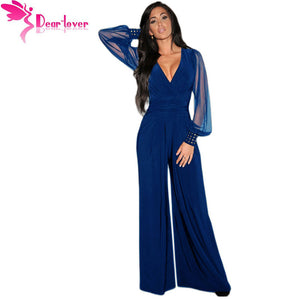 Dear-Lover Jumpsuit V-neck Embellished Cuffs Mesh Sleeves - almajvirtualsolutions - A touch of Class