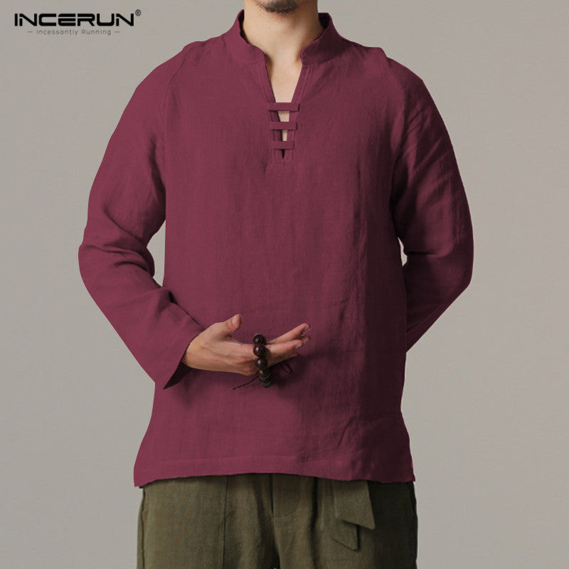 Slim Fit Male Vintage Retro Chinese Style Linen Shirts