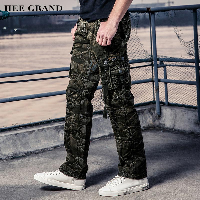HEE GRAND Men Cargo Pants 2018 New Multi-Pockets Whole Cotton Material Comfortable Casual Male Spring Military Pants MKX1239