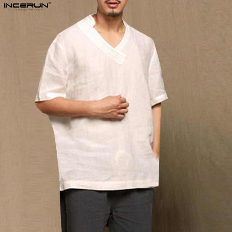 INCERUN 2018 Summer Brand Shirt Men Short Sleeve Loose Thin Cotton Linen Shirt Male Fashion Solid Color Trend V-Neck Shirts Men
