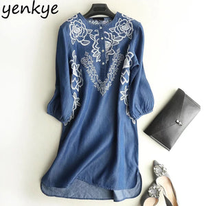 2018 Vintage Women Tencel Denim Dress O Neck Three-Quarter Sleeve Floral Embroidery Casual Dresses Plus Size vestidos  APWM0 - almajvirtualsolutions - A touch of Class