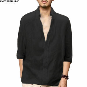 INCERUN Men Summer Casual Long Sleeve Shirt V-Neck Collar Plain Tee Top Traditional Chinese Shirt camisa masculina Plus Size