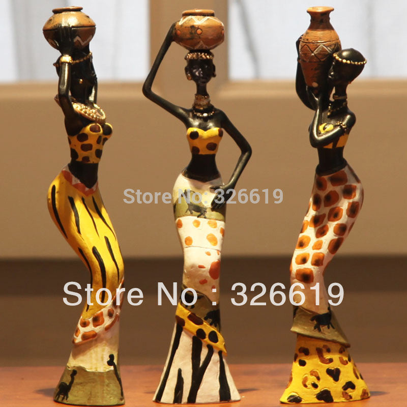 3 African girls home decor resin figurine folk art Home decoration - almaj A touch of Class