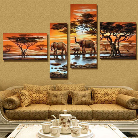 4 Panel Modern Elephant Canvas Painting Canvas Art African Landscape Picture - almaj A touch of Class