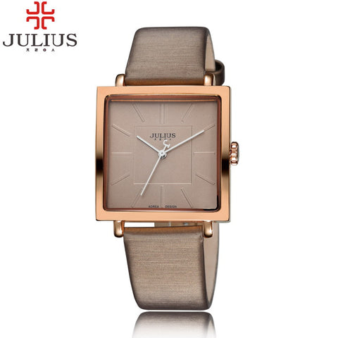 2016 JULIUS Quartz Brand Lady Luxury Rose Gold Antique Square Leather Dress - almaj A touch of Class - 1