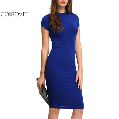 COLROVE  Women's Bodycon, Short Sleeve Knee Length - almajvirtualsolutions - A touch of Class
