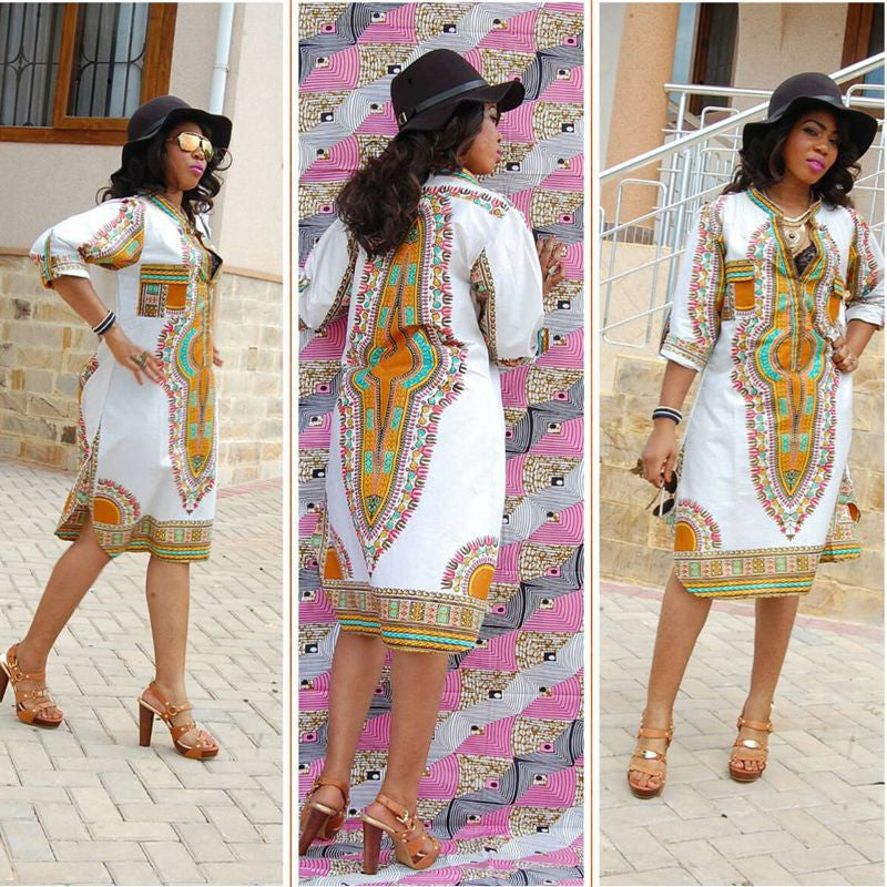 HAOYUAN Fashion Dashiki  African Transitional Print - almaj A touch of Class - 1