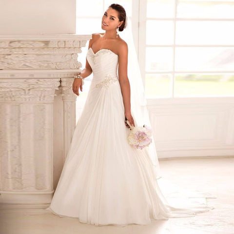 2016 In Stock Wedding Dresses Sweetheart Chiffon Gown - almaj A touch of Class