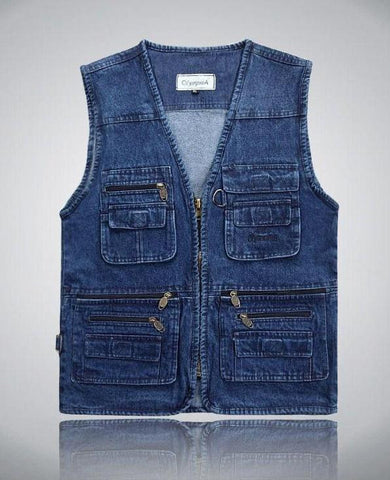 Denim Vests Multi Pocket Sleeveless - almajvirtualsolutions - A touch of Class