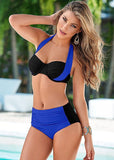 Swimsuit High Waisted Halter Top Push Up Bikini Set - almaj A touch of Class - 3