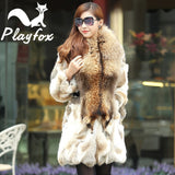 Genuine natural rabbit fur with big raccoon Collar - almaj A touch of Class - 1