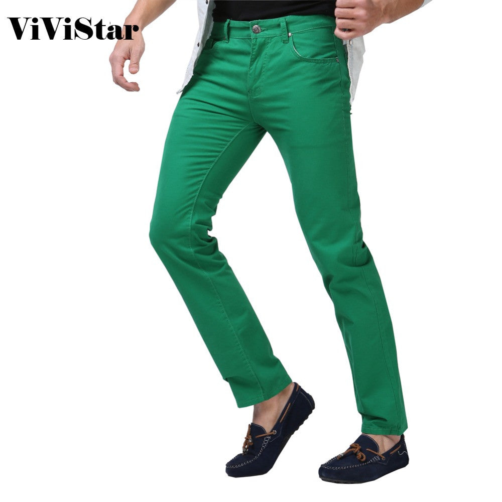 Vivistar Solid Color Casual Calca Jeans - almaj A touch of Class - 1