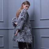 Genuine natural wool Lamb Fur v neck jacket - almaj A touch of Class - 1