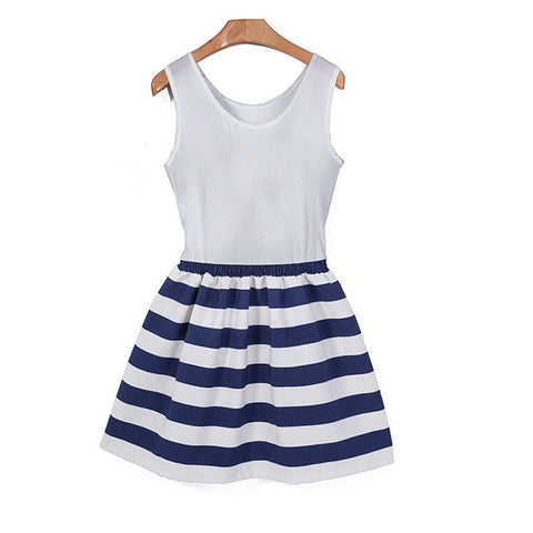Striped  Sleeveless Casual O-Neck mini - almaj A touch of Class - 2