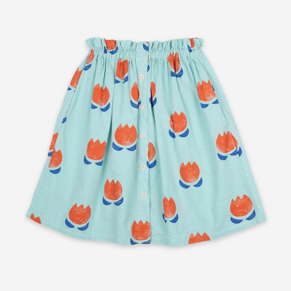 BOBO CHOSES - Chocolate Flowers All Over Buttoned Midi Skirt
