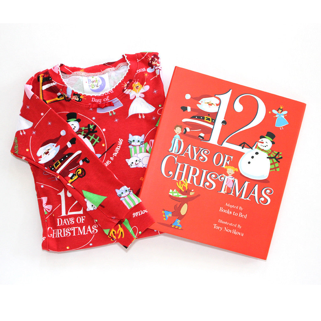 "BOOKS TO BED - ""Twelve Days of Christmas"" Pajamas & Book Set"