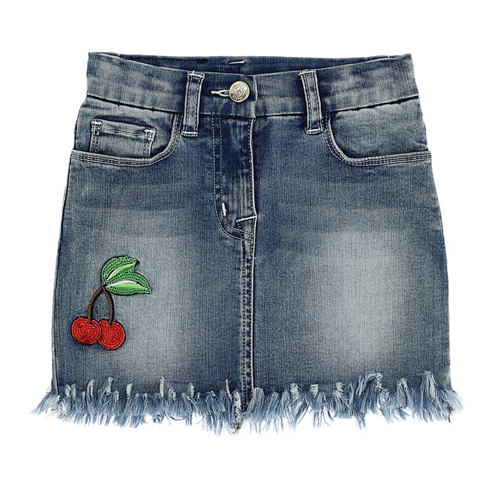 MONNALISA - Cherries Fringed Denim Miniskirt