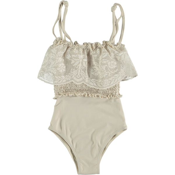 "BELLE CHIARA - ""EMILY"" - Beige Cotton Lycra Swimsuit"