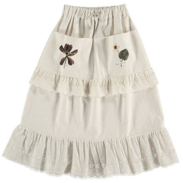 "BELLE CHIARA - ""EMILY"" - Beige Soft Canvas Skirt"
