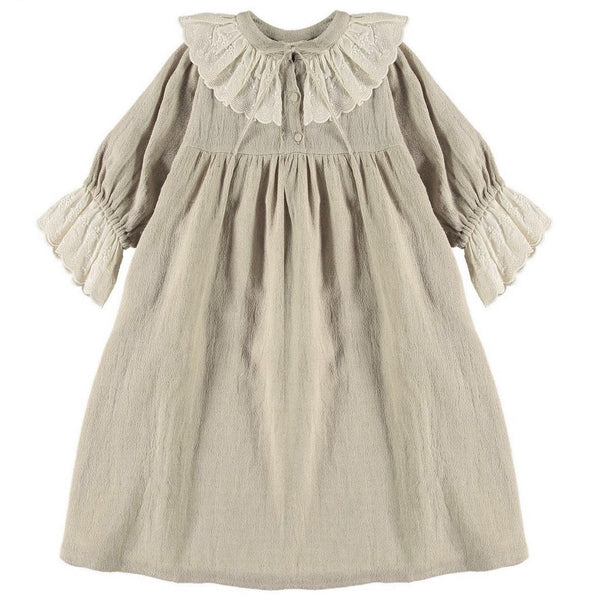 "BELLE CHIARA - ""EMILY"" - Puff Sleeve Natural Linen Dress"