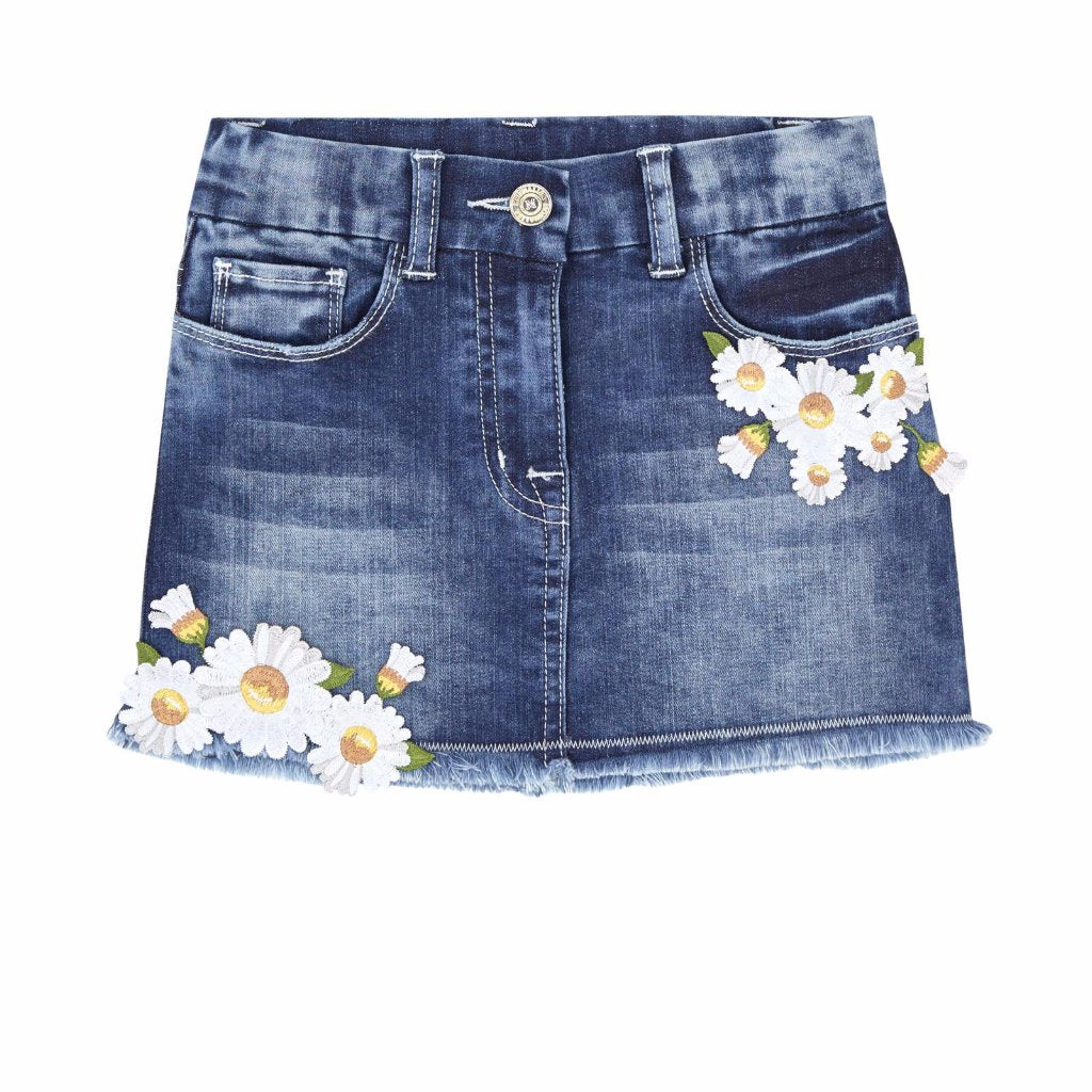 MONNALISA - Embroidered Daisy Denim Skirt
