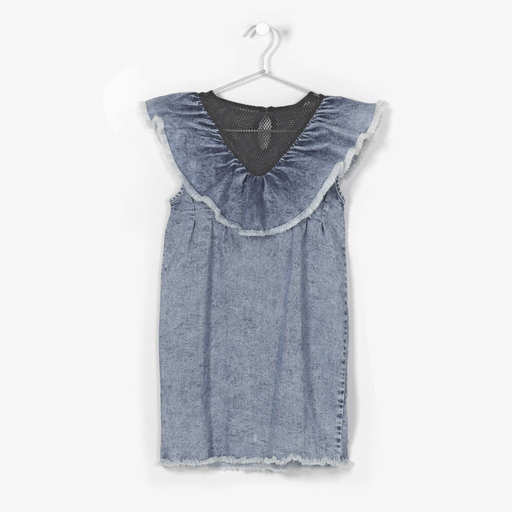 ANDORINE - Ruffled Denim Dress