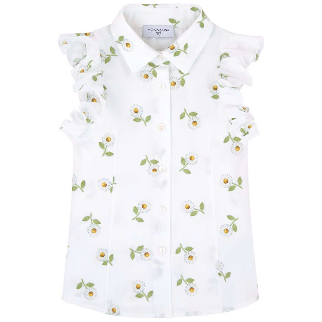 MONNALISA - Sleeveless Daisy Printed Blouse