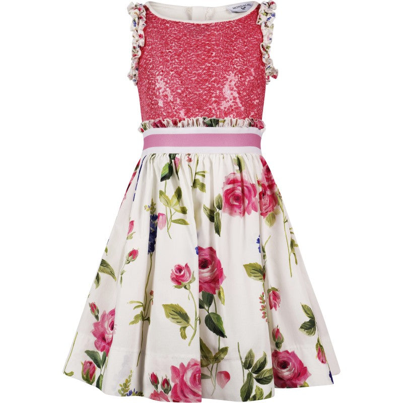 MONNALISA - Sequined Bodice Dress with Floral Skirt