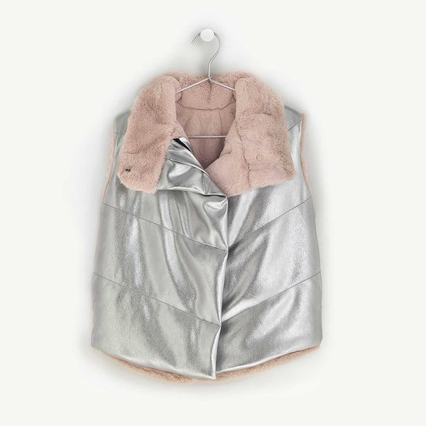 ANDORINE - Oversized Metallic Reversible Quilted Faux Fur Vest