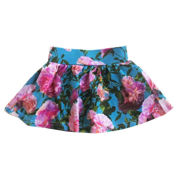 "ROMEY LOVES LULU - ""Blue Flowers"" Printed Skirt"