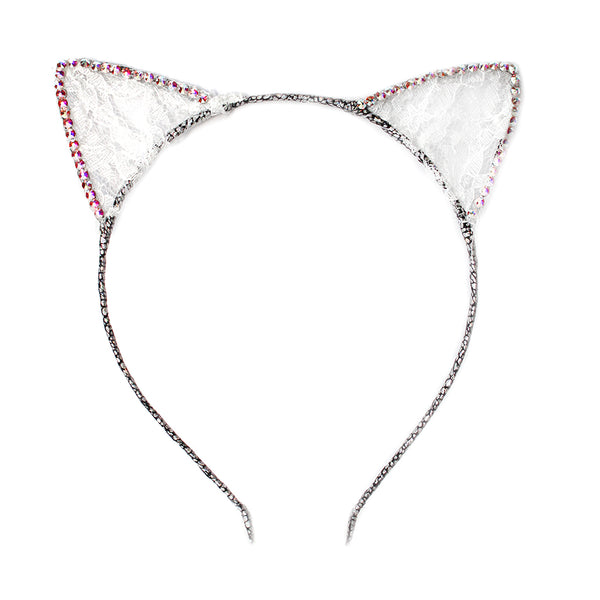 BARI LYNN - Crystal and Lace Cat Ears Headband