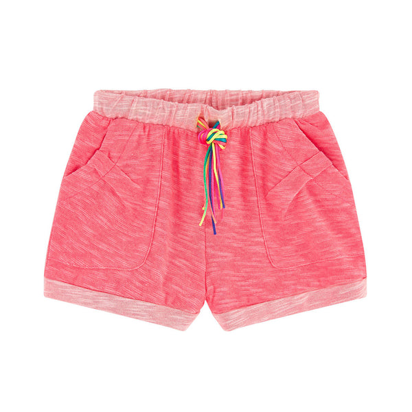 BILLIEBLUSH - Heather Jersey Shorts with Multicolor Drawstring