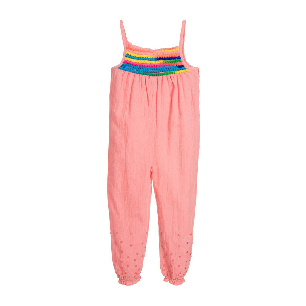 BILLIEBLUSH - Sleeveless Jumpsuit with Rainbow Pom Pom Trim