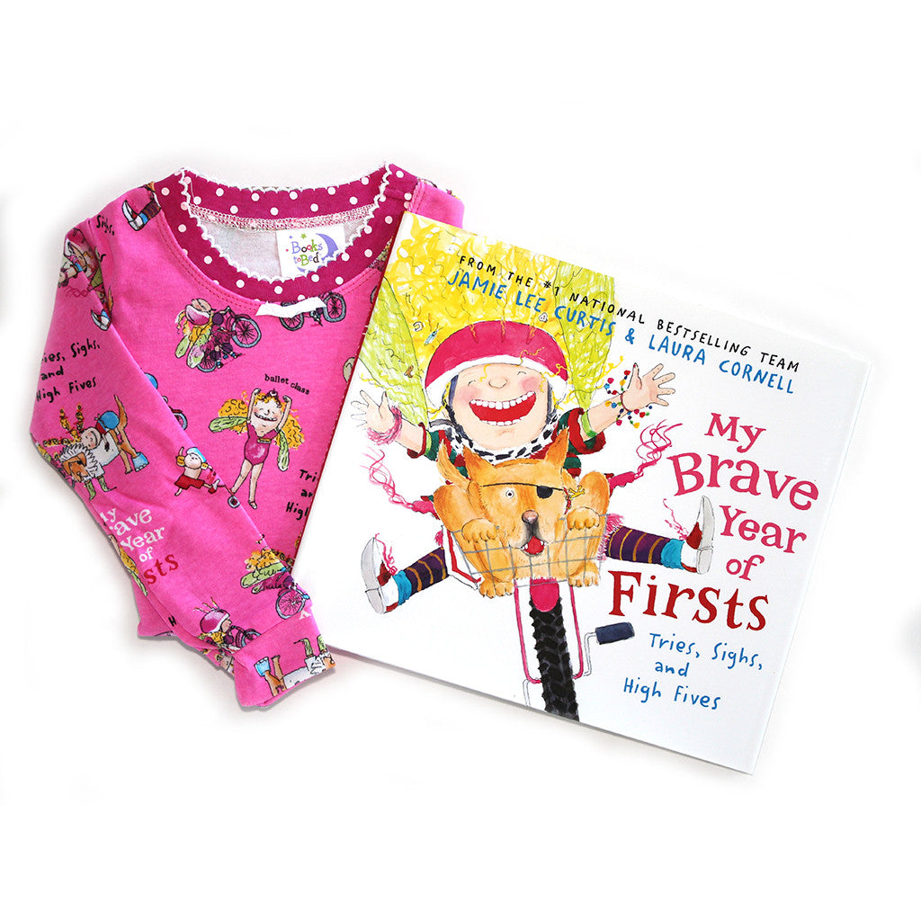 "BOOKS TO BED - ""My Brave Year of Firsts: Tries, Sighs, and High Fives"" Pajamas & Book Set"