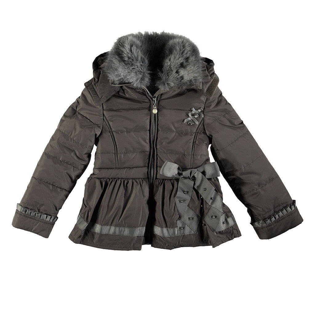 LE CHIC - Puffer Coat with Fur Collar & Bow