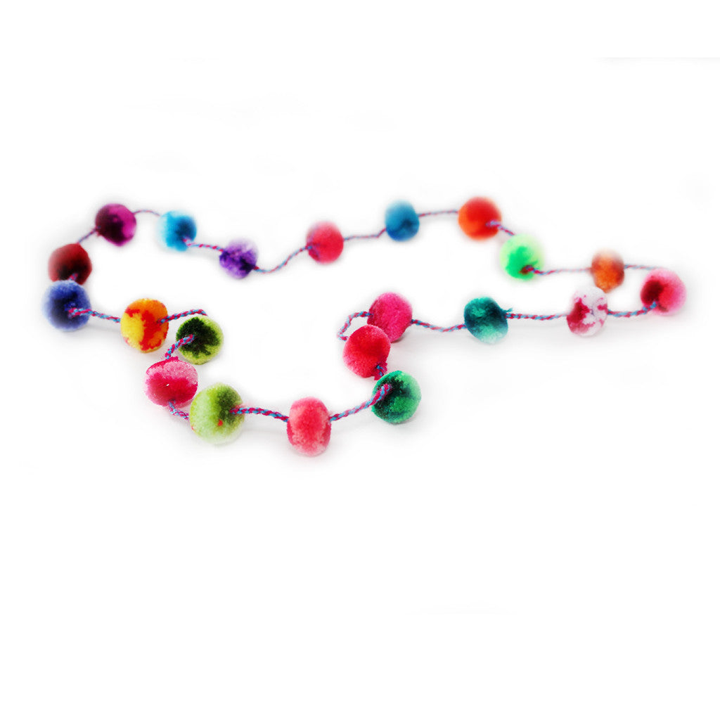 CABBAGES & KINGS NY - Multicolored Pom Pom Necklace