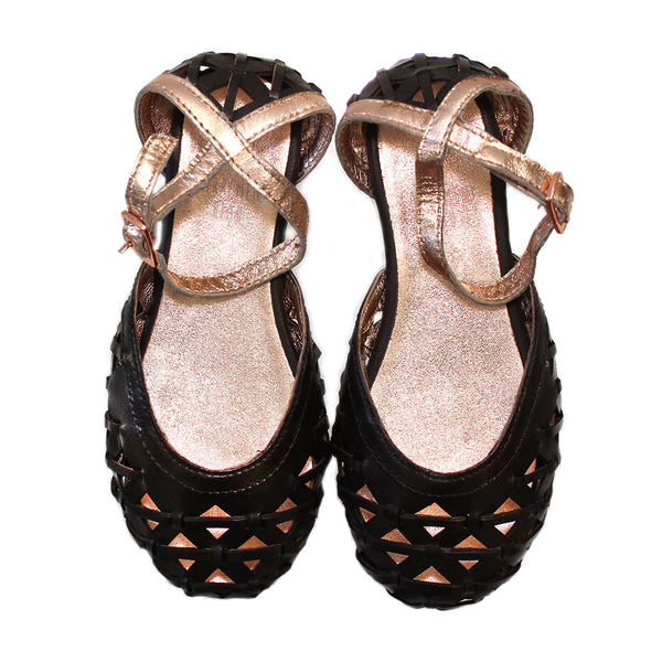 CARREMENT BEAU - Perforated Leather Sandals with Ankle Strap