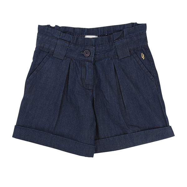 CARREMENT BEAU - Denim Shorts with Pleated Back