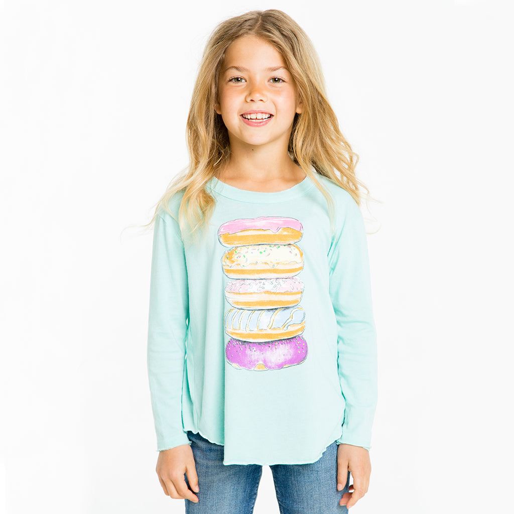 "CHASER KIDS - ""Donut Tower"" Vintage Jersey Long Sleeve Shirttail Tee"