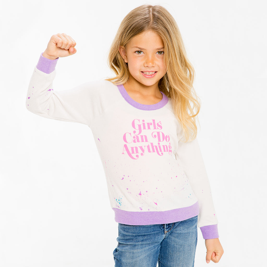 "CHASER KIDS - ""Go Girls"" Love Knit Raglan Pullover"
