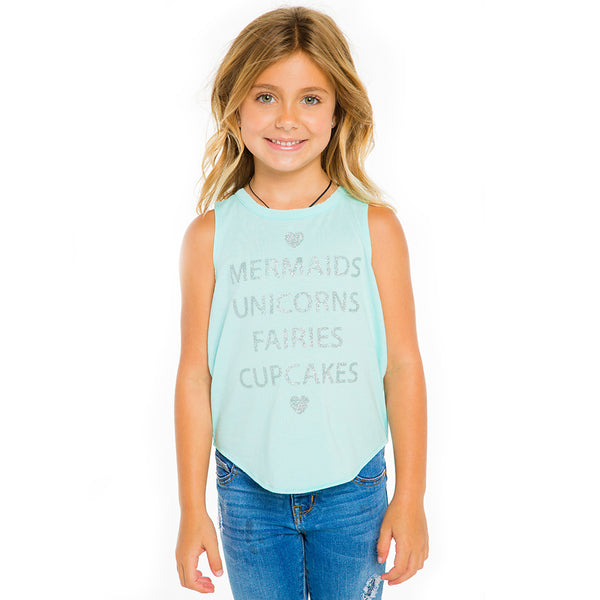 "CHASER KIDS - ""Mermaids & Unicorns"" Vintage Jersey Shirttail Muscle Tank"