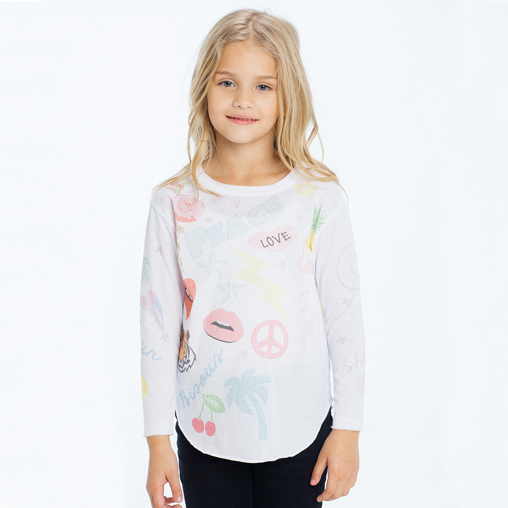 "CHASER KIDS - ""Peace Patches"" Vintage Jersey Long Sleeve Shirttail Tee"