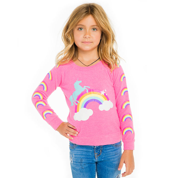 "CHASER KIDS - ""Unicorn Rainbows"" Love Knit Raglan Pullover"
