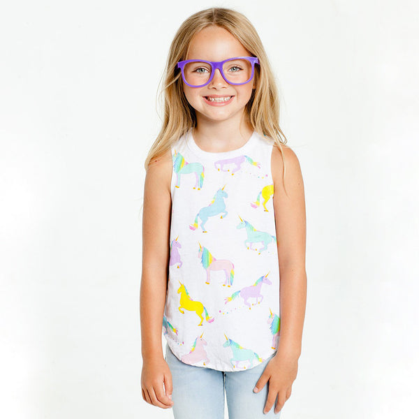 "CHASER KIDS - ""Unicorns"" Jersey Shirttail Muscle Tank"