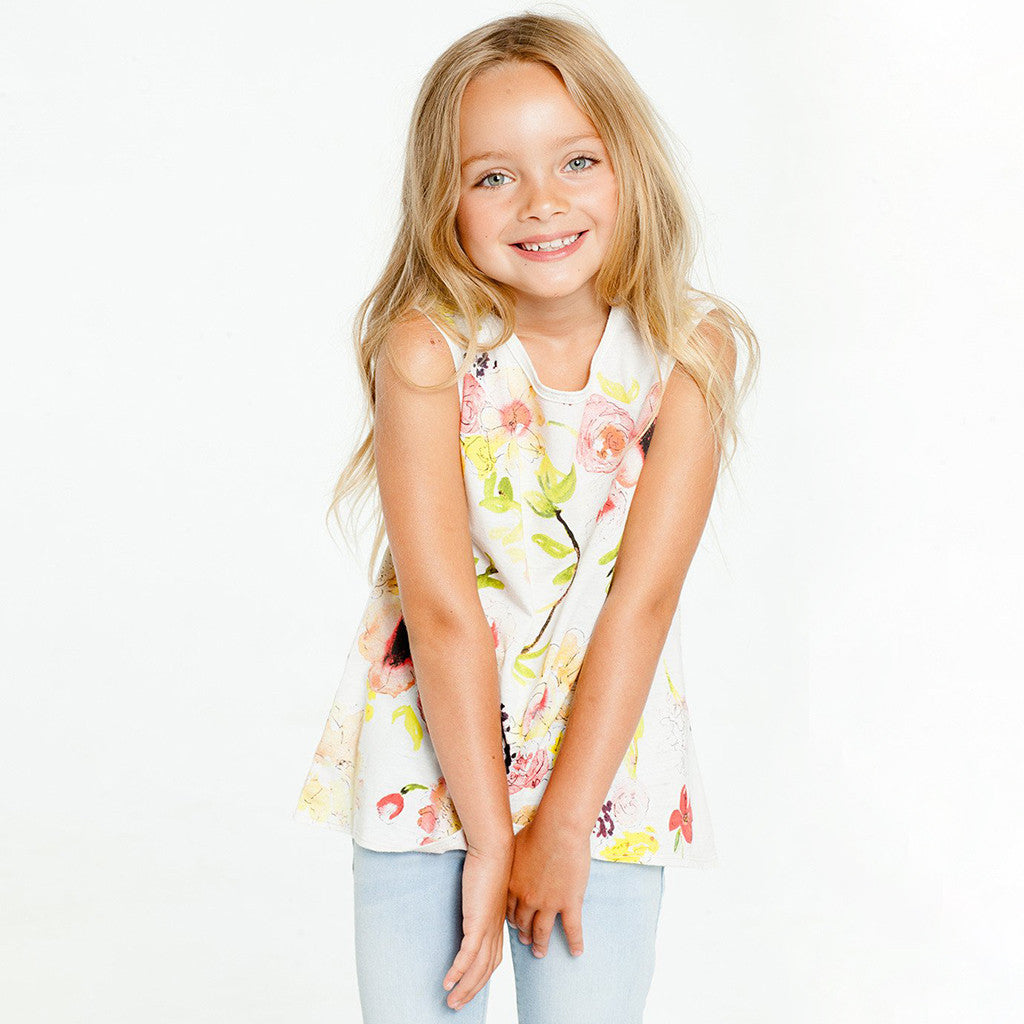 "CHASER KIDS - ""Wild Flowers"" Vintage Jersey Flouncy Tank"