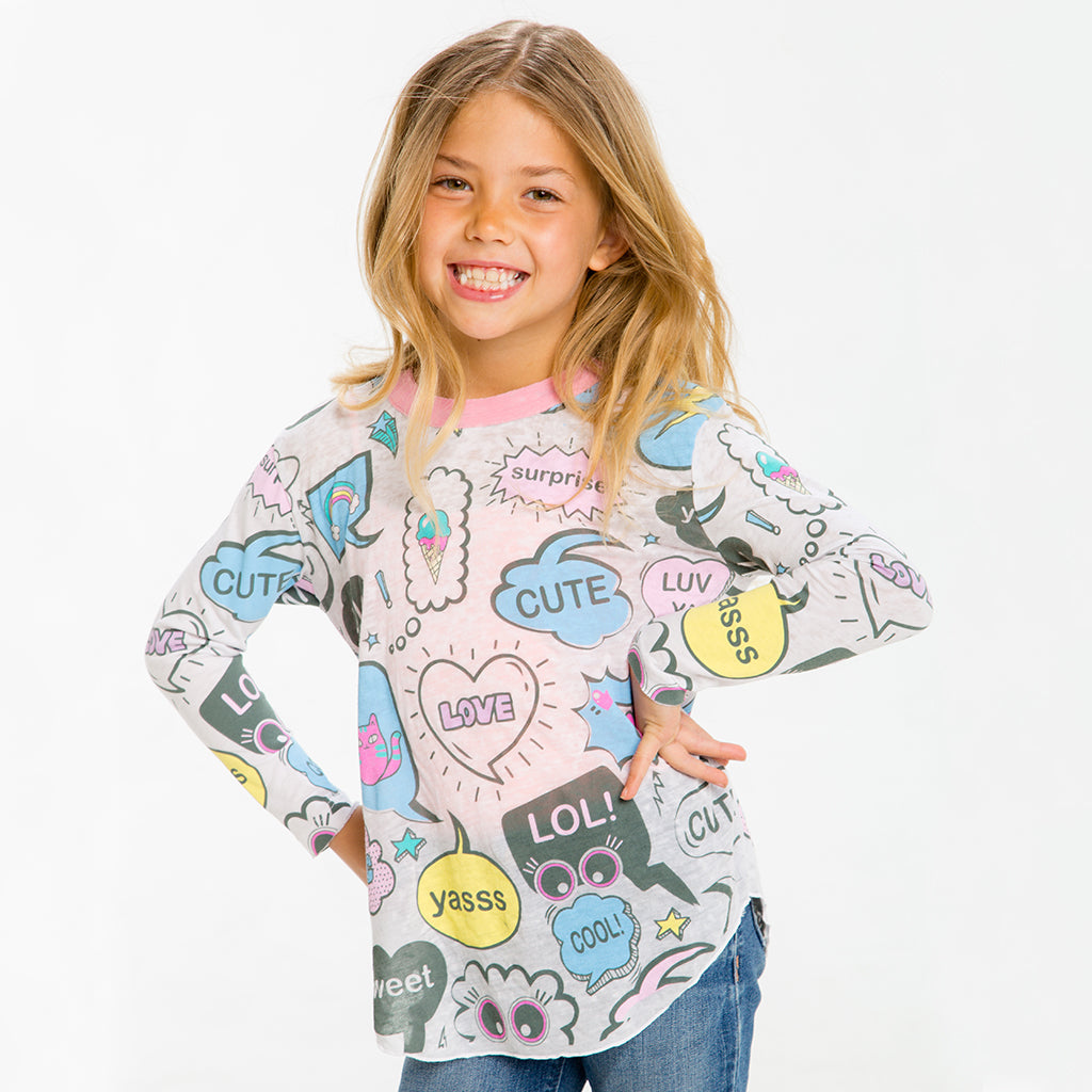 "CHASER KIDS - ""Texty"" Vintage Jersey Long Sleeve Shirttail Tee"